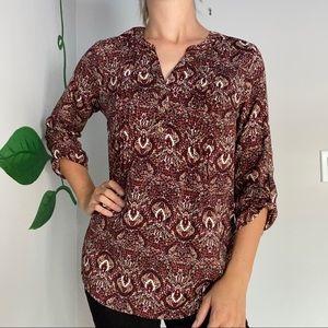 3/20$ MyStyle 3/4 sleeve patterned blouse